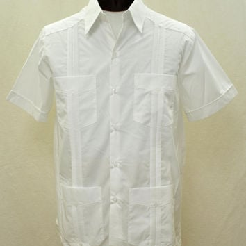 D'Accord Men's Short Sleeve White Guayabera Shirt