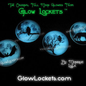 Choose Bat, Raven, Owl, or  Wolf Full Moon Glow Pendants