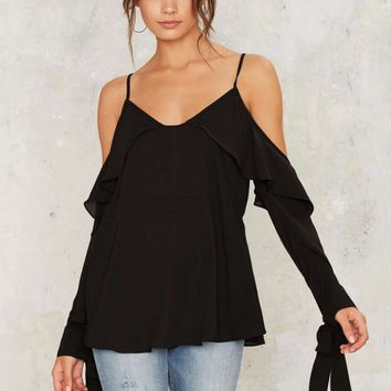 Hang Around Cold Shoulder Top