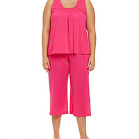 Miss Elaine Plus Silk Essense Sleeveless Knit Pajamas - Real Ruby