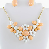 Flower Beads Statement Necklace and Earrings Set