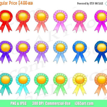 50% OFF SALE Award Clipart, Award Ribbon Clip Art, Prize Ribbons, Award Medals, School Teacher Class Awards, Award Icons, PNG, Commercial