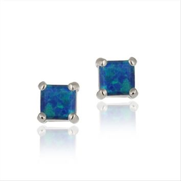 925 Silver Lab Created Blue Opal 6mm Square Stud Earrings