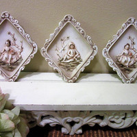 Plaques Lefton Porcelain Ceramic Hand Painted Set of 3 Vintage Number KW117 blm