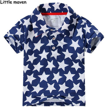 Little maven 2017 new summer baby boys clothes fashion pentagram polo shirt brand Cotton children star print brand clothes P005