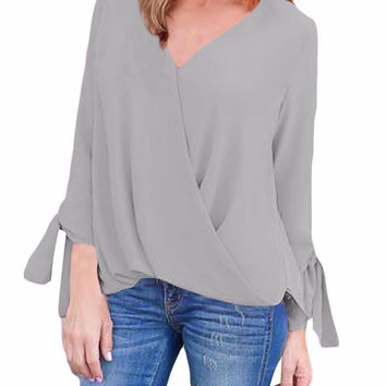 Gray Womens V Neck Ruched Tie Sleeve Top
