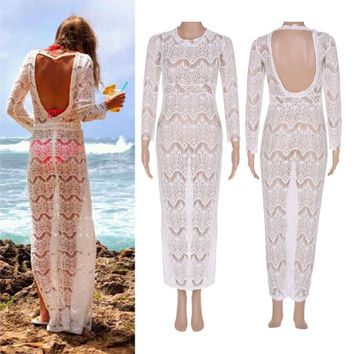 Backless Long Sleeve Beach Bikini Cover Up Dress