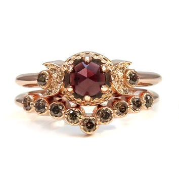 Rose Gold Engagement Ring Set - Rose Cut Garnet and Champagne Diamonds - Waxing Waning Moons