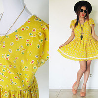 Vintage babydoll yellow polka dot puff sleeves oversized grunge lolita lace trim summer mini day dress Size M/L