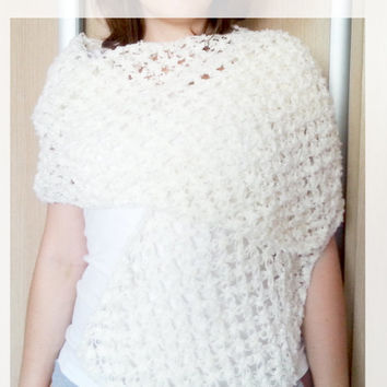 Wedding shawl, crochet shawl, white scarf, white shawl, solomon scarf,lace shawl, creme ecru scarf, shawl wrap, winter wedding