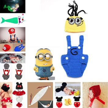 Moeble Crochet Minions Hat Suspender Pants Set Handmade Infant Baby Photo Costume Crochet Newborn Baby Photo props accessories