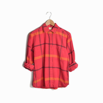 Vintage Diane Von Furstenberg Red Flannel Shirt - women's small