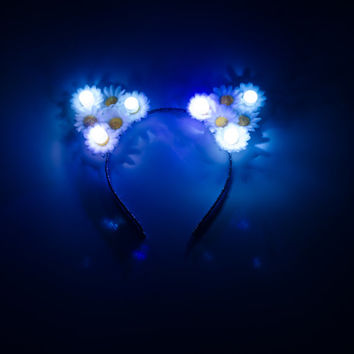 White LED Cat Ear Headband, Floral Cat Ears, LED Headband, Coachella, Electric Daisy Carnival, Snow Globe Music Festival, Fun Fun Fun Fest