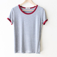 Ringer Short Sleeve Tshirt - Grey/Burgundy