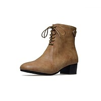 Vintage Lace Up Chunky Mid Heeled Short Boots for Women 8366