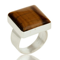 Natural Tiger Eye Gemstone Sterling Silver Bezel Set Ring