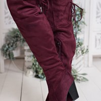 Take Charge Thigh Highs (Burgundy)