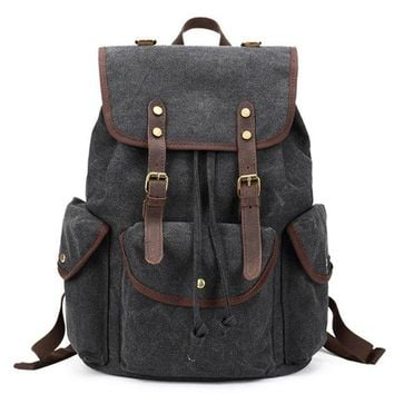 BLUESEBE UNISEX CANVAS WITH LEATHER TRIM BACKPACK FB06