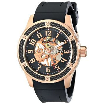 Invicta 16280 Men's Specialty Black & Rose Gold Skeleton Dial Rose Gold Steel Black Strap Watch