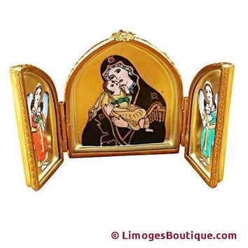 TRIPTYCH WITH MADONNA & JESUS LIMOGES BOX
