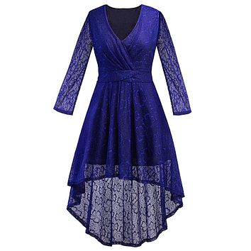 Women's Dresses Fashion Lace Long Sleeve Ladies's Dress Party Prom Gown Dresses V-Neck New Autumn