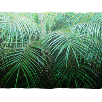 Jungle Palms 2 - Fleece Blanket, Tropical Green Palm Trees Accent, Beach Surf Style Home Decor Coral Fleece Throw Cover. Small Medium Large