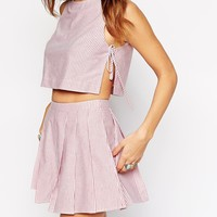 ASOS PETITE Co-ord Top in Candy Stripe