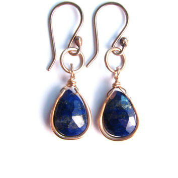 Navy Blue Natural Lapis lazuli Earrings Wrapped in Bronze - Blue Stone Dangle Earrings - Blue and gold