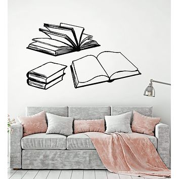 Vinyl Wall Decal Open Books Reading Room Library Bookworm Stickers Unique Gift (1965ig)