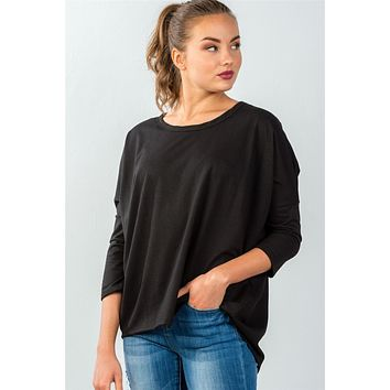 Ladies fashion black button up back long sleeve sweater