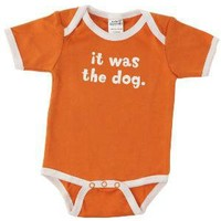 IT WAS THE DOG BABYSUIT | Orange It's the Dog's Fault Infant Babysuit, Baby Babysuit That Blames The Dog, 100% Cotton, Funny, Cute | UncommonGoods