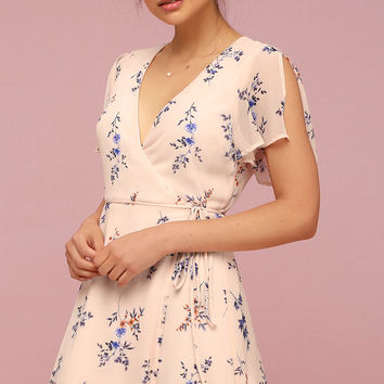 Fowler Blush Pink Floral Print Wrap Dress