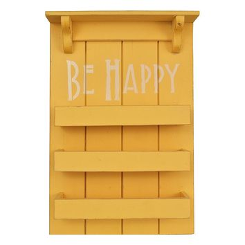 Belle Maison ''Be Happy'' 3-Shelf Cubby Wall Decor (Yellow)