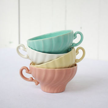 Franciscan Ware Coronado Swirl Teacups, Franciscan Pottery, Pastel, Easter, Set of 4, Mixed Set, Aqua, Pink, Yellow, Cream