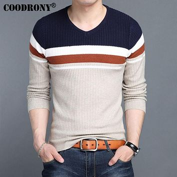 Sweater Men Knitted Wool Pullover New Men V-Neck Sweaters Winter Warm Slim Fit Pull Home