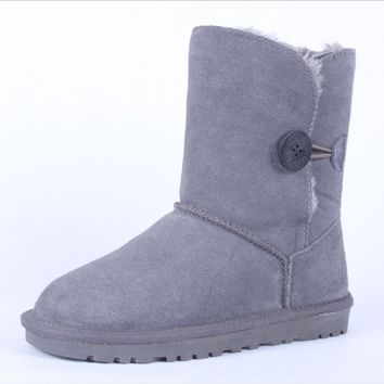 """UGG"" Women Fashion Wool Snow Boots Calfskin Shoes A button Grey"
