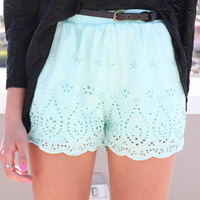 SABO SKIRT  Eyelet Shorts - Mint - $44.00