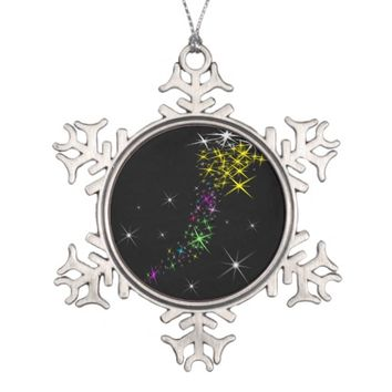Christmas Star Snowflake Pewter Christmas Ornament