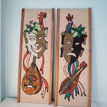 Mid Century Wall Art, Comedy Drama Masks, Gravel Art on Masonite, 1960s Mod, MCM Home Decor, Music Theater Arts