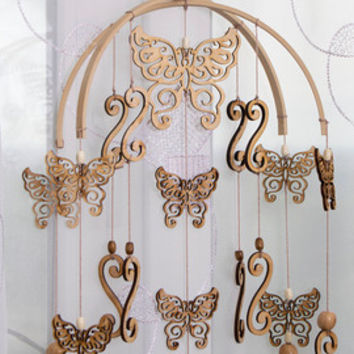 Butterfly mobile baby mobile hanging mobile wooden mobile nursery decor dream catcher  Mobile Crib Mobile Baby Girl Boy