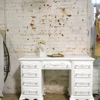 Painted Cottage Chic Shabby White Romantic French Desk DK278