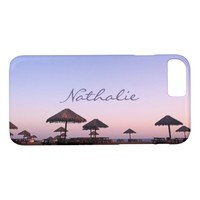 California palapa beach sunset photo custom name iPhone 8/7 case