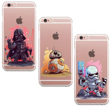 Star Wars Character Movie Storm Trooper Darth Vader Yoda R2-D2 BB-8 Soft Phone Case For iPhone 7 7Plus 6 6sPlus 5 5S Back Cover