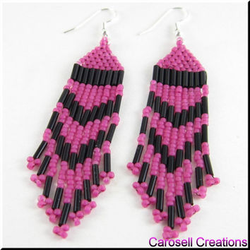 Native American Style Beadwork Seed Bead Earrings in Pink and Black
