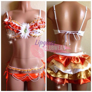 Magic Sunlight Rave Bra and Bottom, Costume 4 EDC, Electric Daisy Carnival, Ultra, EDM FestivalsTomorrowland