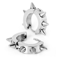 Justeel Jewelry Stainless Steel Stud Earrings Silver Spike Punk: Jewelry: Amazon.com