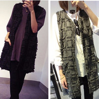 Fringed Patchwork Long Vest