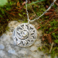 Antique Fern Necklace - Artisan Handcrafted by Silvan Arts - Recycled Fine Silver - Woodland-Fairy-Botanical- Forest-Art Nouveau-Elven