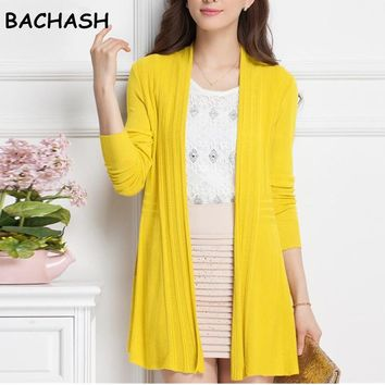 BACHASH Women Cardigan Knitwear Oversize Autumn Cardigan Sweater Poncho Long Cardigan Women Long Knitted Cardigans Coat Female