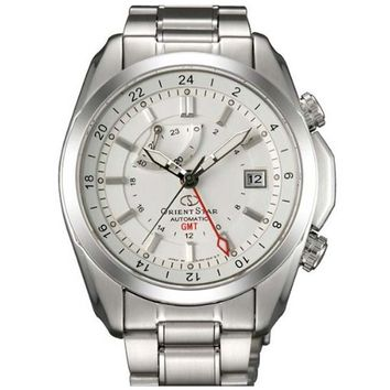 Orient DJ00002W Men's Star Seeker White Dial Stainless Steel Power Reserve GMT Watch